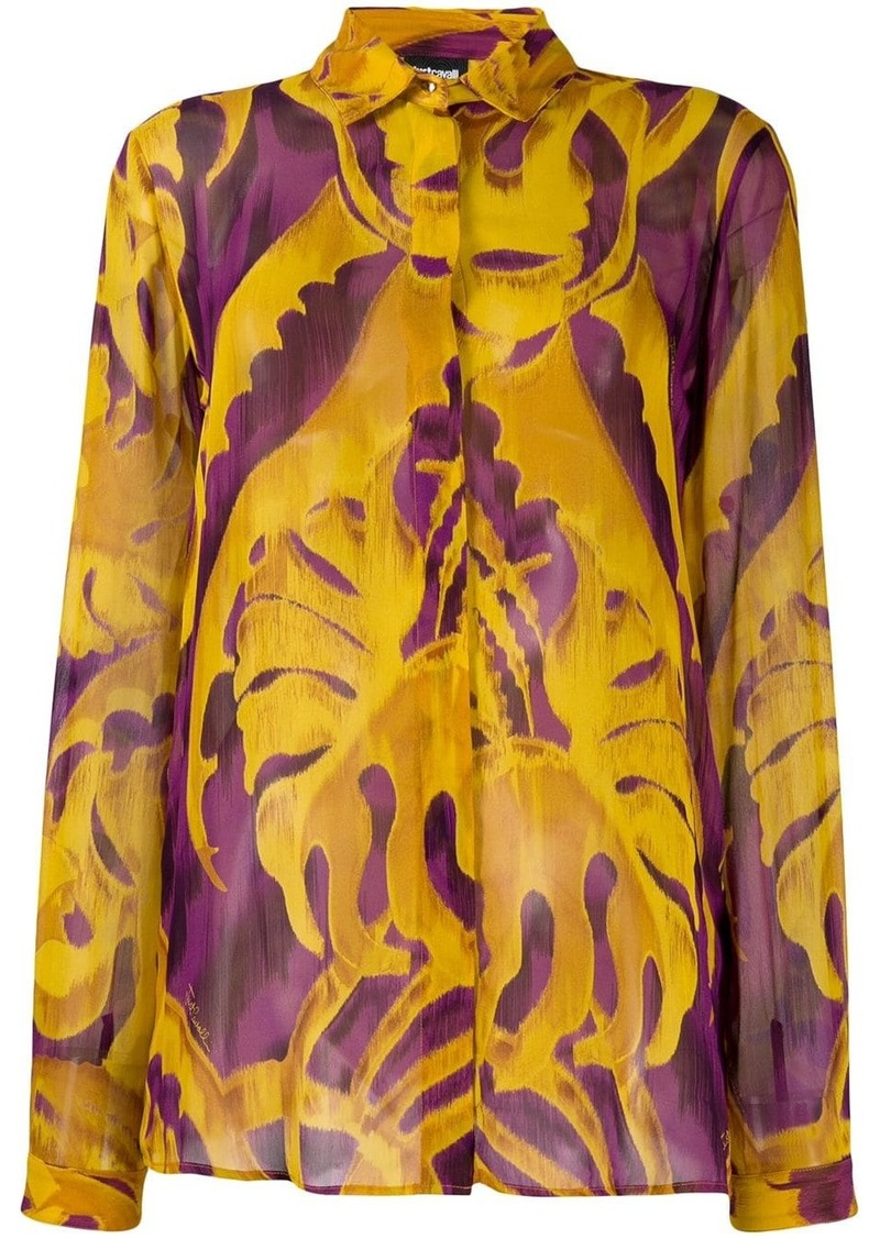 Just Cavalli leaf pattern drape shirt