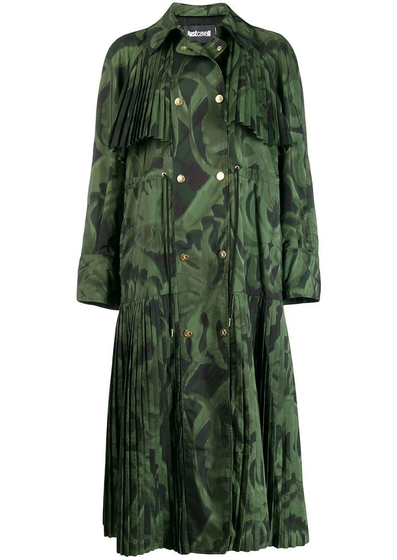 Just Cavalli leaf print pleated coat