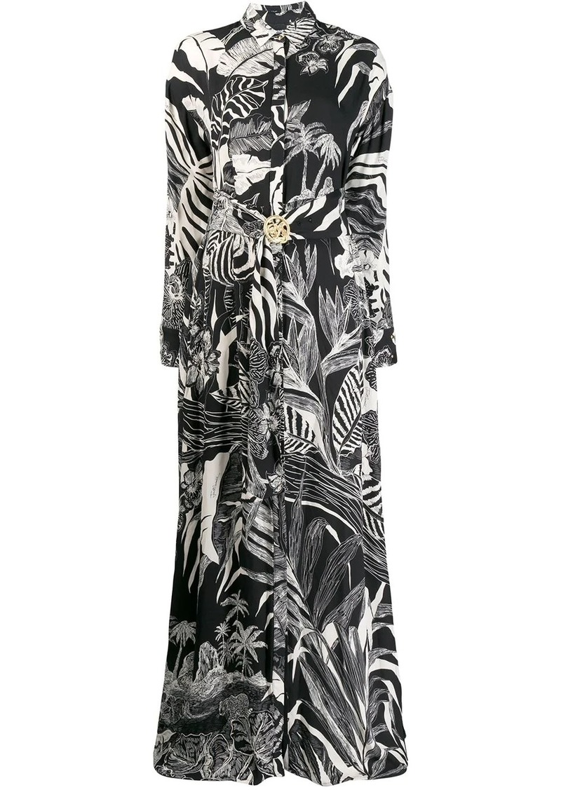 Just Cavalli leaf print shirt dress