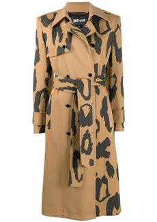 Just Cavalli leopard-print belted trench coat