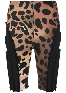 Just Cavalli leopard-print panelled cycling shorts