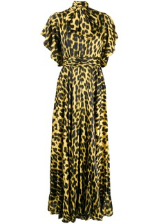 Just Cavalli leopard-print pussy bow dress