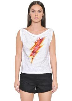 Just Cavalli Lighting Bolt Print Cotton Jersey Top