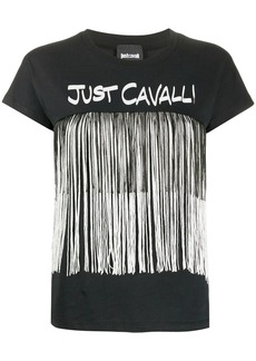 Just Cavalli logo fringed T-shirt
