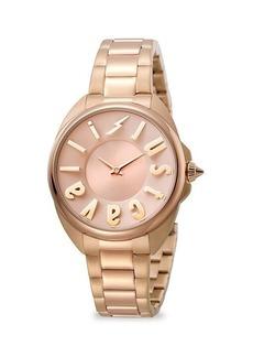 Just Cavalli Logo Rose Goldtone Stainless Steel Bracelet Watch