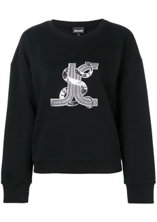 Just Cavalli logo snake embroidered sweatshirt