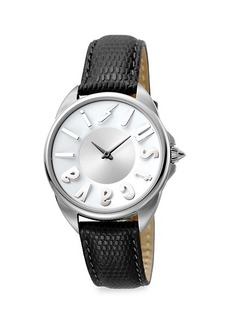 Just Cavalli Logo Stainless Steel Leather-Strap Watch