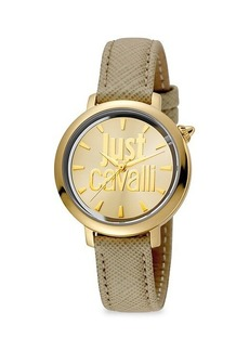 Just Cavalli Logomania Goldtone Stainless Steel & Leather-Strap Watch
