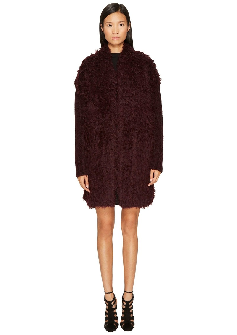 Just Cavalli Long Sleeve Fluffy Alpaca Wool Jacket