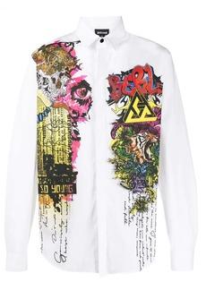 Just Cavalli long sleeve graffiti printed shirt