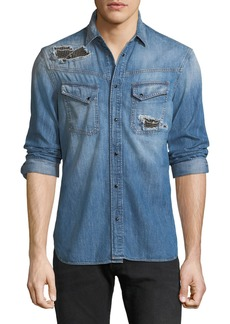 Just Cavalli Men's Denim Western Shirt with Studded Patches