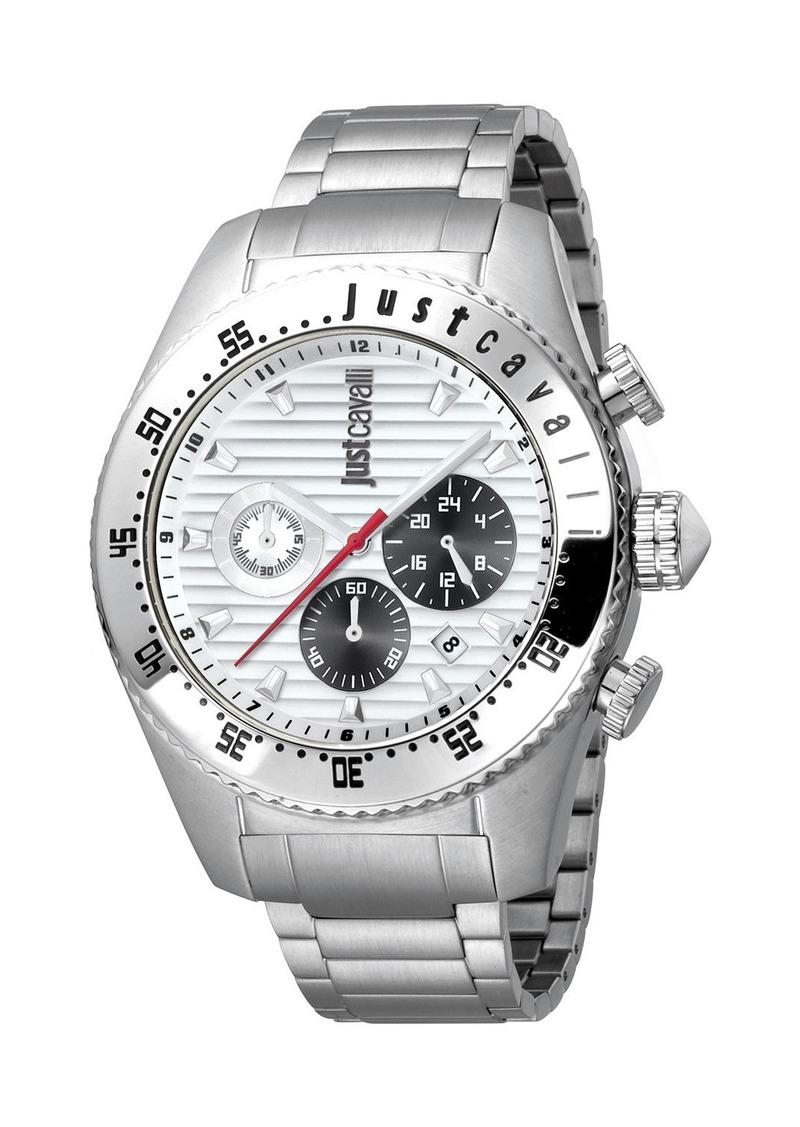 Just Cavalli Men's Sport 45mm Chronograph Watch with Bracelet Strap  Silver