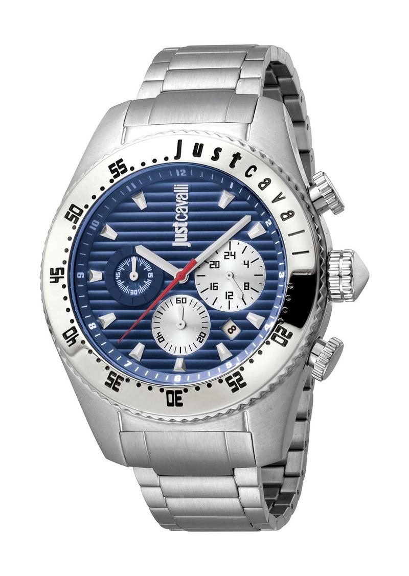 Just Cavalli Men's Sport 45mm Chronograph Watch with Bracelet Strap  Silver/Blue
