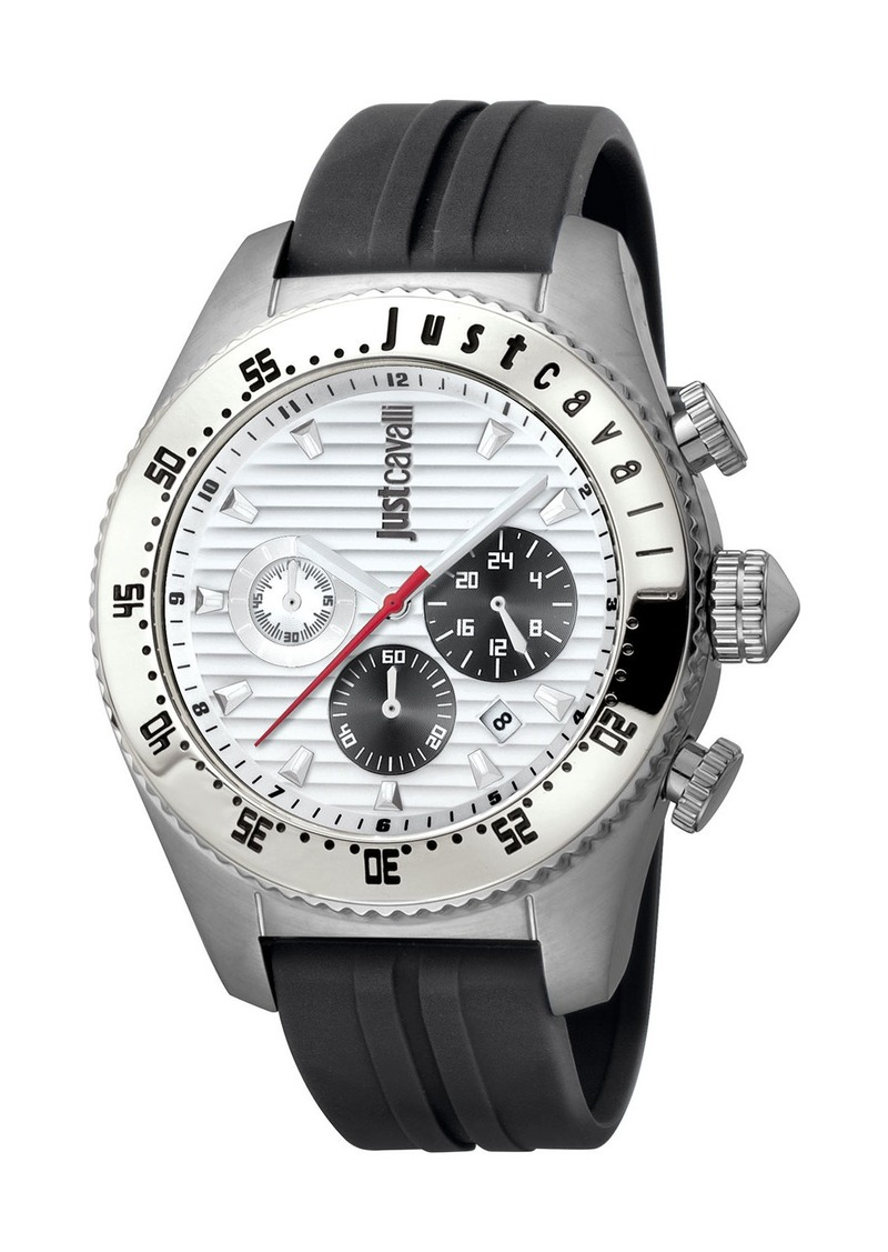 Just Cavalli Men's Sport 45mm Chronograph Watch with Silicone Strap  Black