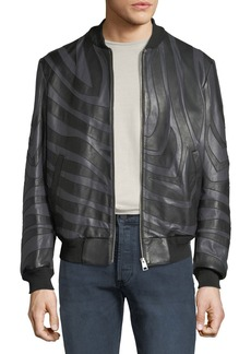 Just Cavalli Men's Tiger-Striped Leather Bomber Jacket