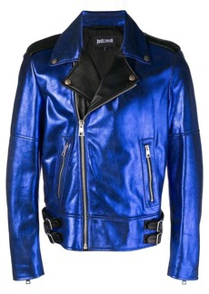 Just Cavalli metallic biker jacket