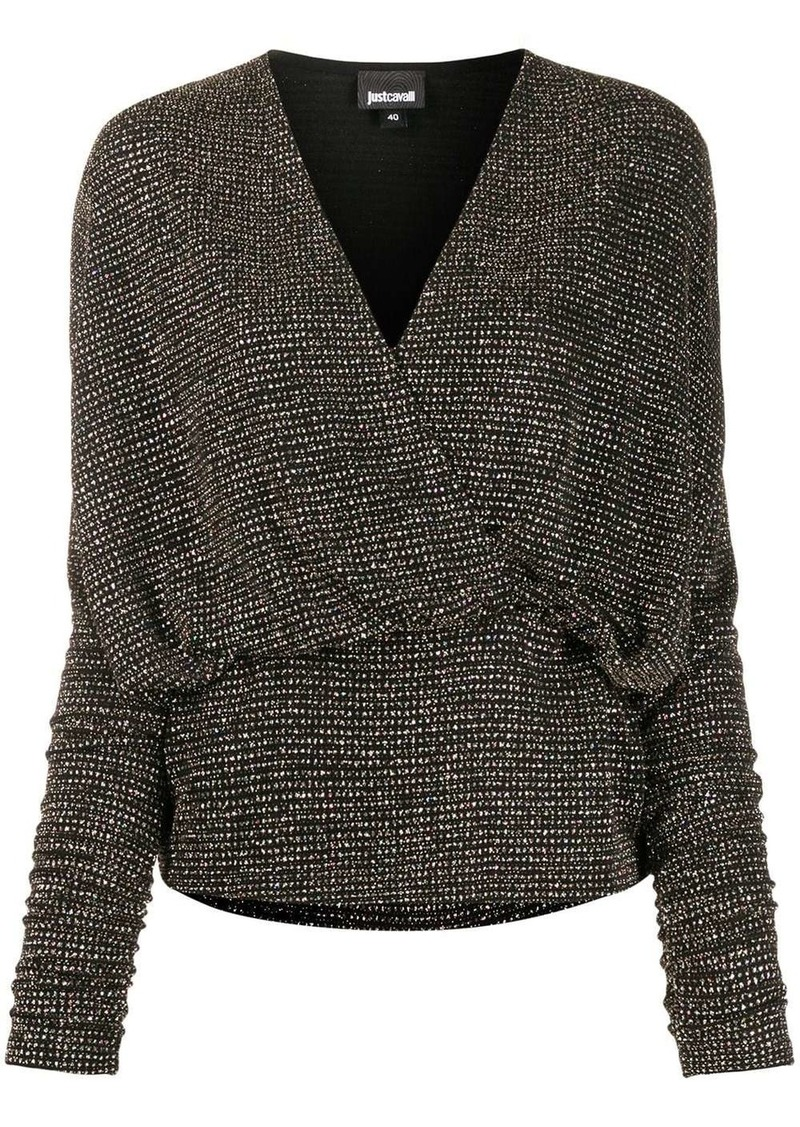 Just Cavalli metallic V-neck wrap blouse