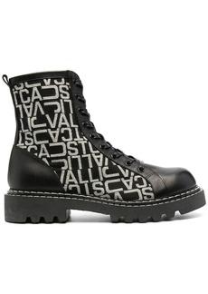 Just Cavalli monogram-print combat boots