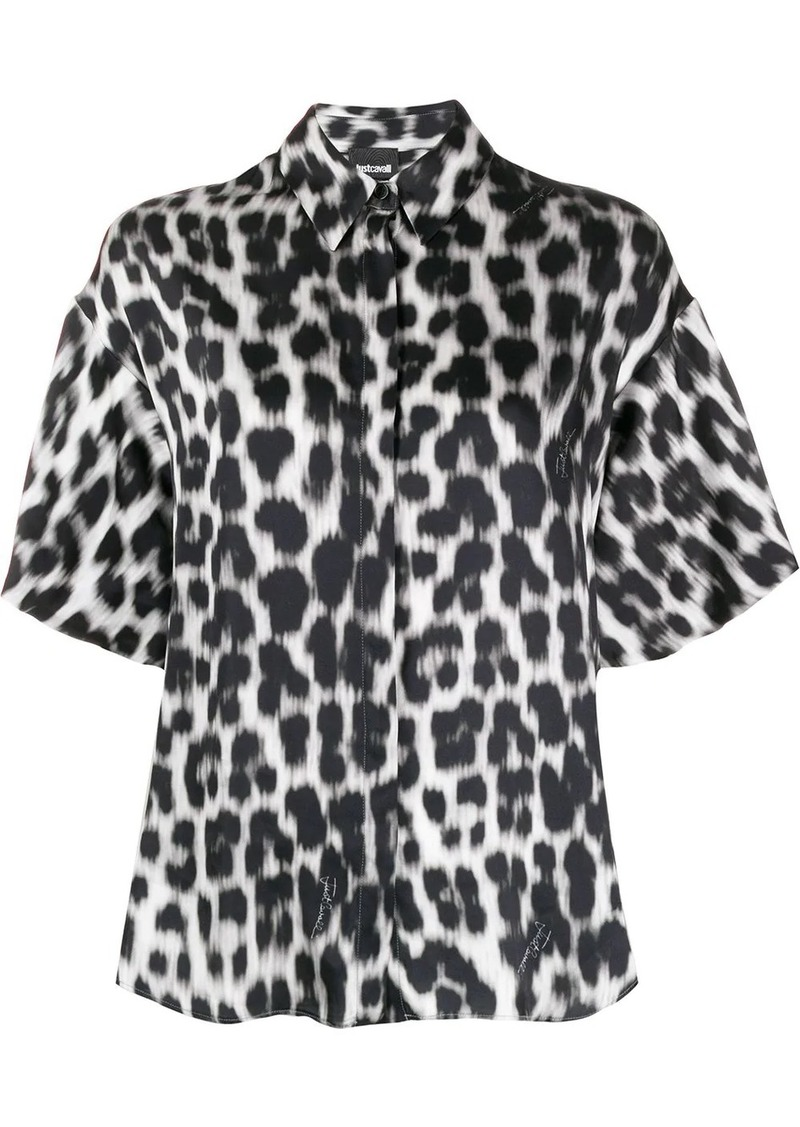 Just Cavalli oversized leopard-print satin shirt