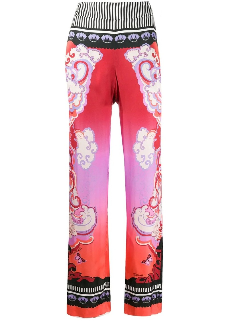 Just Cavalli print mix trousers