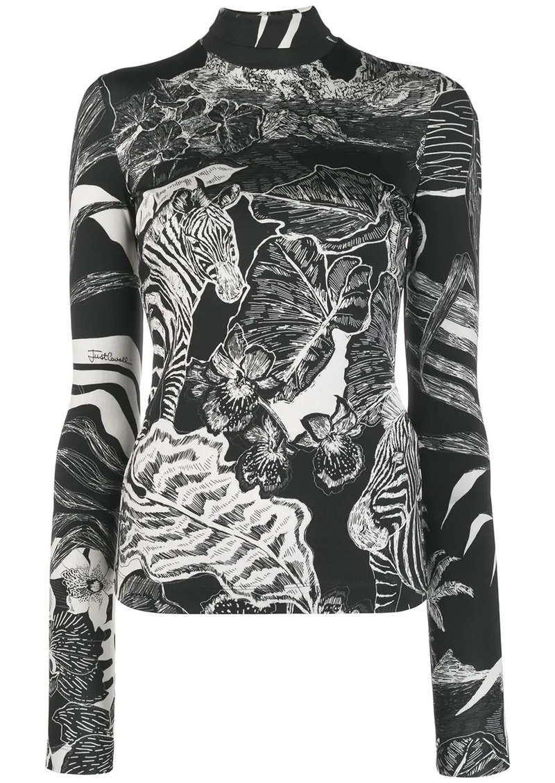 Just Cavalli printed roll neck top