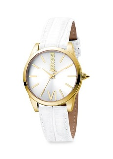 Just Cavalli Relaxed Velvet Goldtone Stainless Steel Leather-Strap Watch