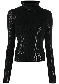 Just Cavalli rhinestone-embellished roll-neck jumper
