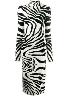 Just Cavalli roll neck zebra dress