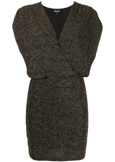 Just Cavalli ruched-shoulder glitter mini dress