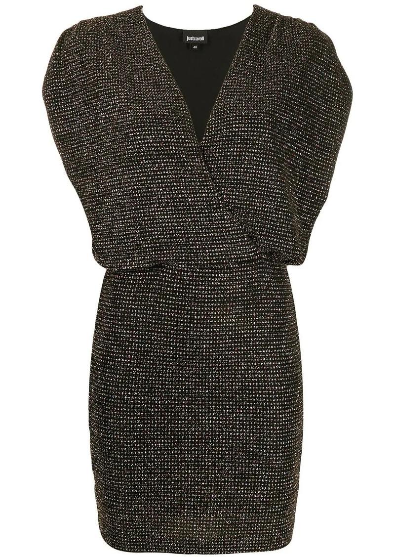 Just Cavalli ruched-shoulder glitter mini dress