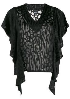 Just Cavalli ruffled sleeve T-shirt