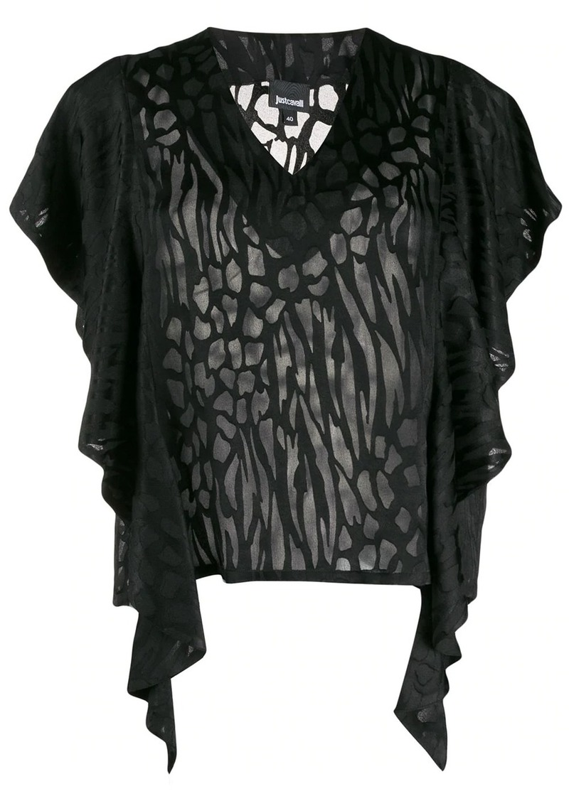 Just Cavalli ruffled sleeve T-shirt