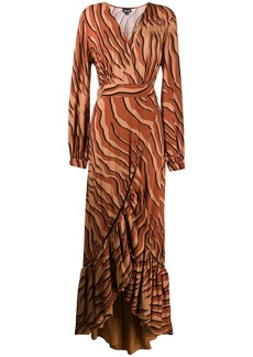 Just Cavalli ruffled trim animal print dress