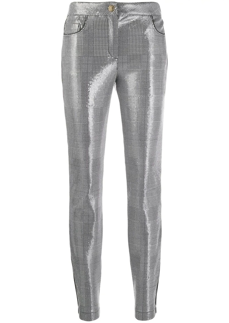 Just Cavalli sequin check skinny trousers