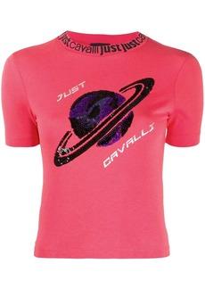 Just Cavalli sequin-planet slim T-shirt