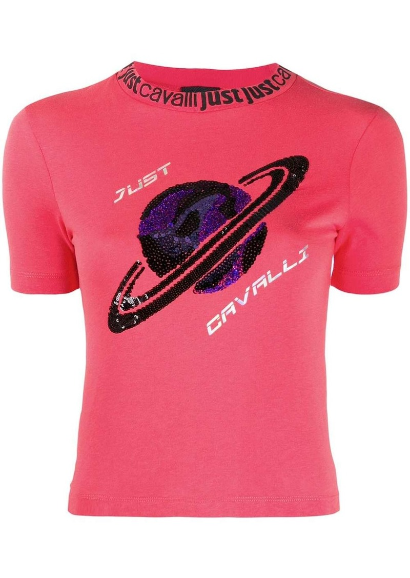 Just Cavalli sequin-planet slim T-shirt