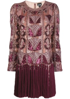 Just Cavalli sequinned fringe hem shift dress