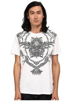 Just Cavalli Short Sleeve Feather/Flame Graphic Slim Fit Tee