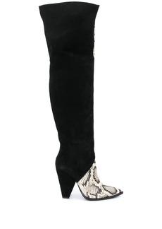 Just Cavalli snakeskin-effect knee-high boots
