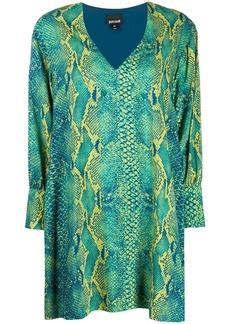 Just Cavalli snakeskin pattern V-neck dress