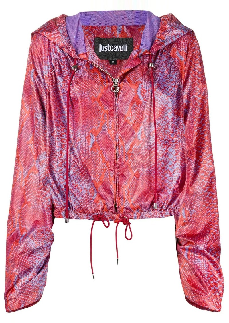 Just Cavalli snakeskin-print hooded jacket