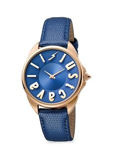 Just Cavalli Stainless Steel & Leather-Strap Watch