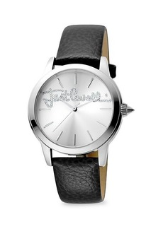Just Cavalli Stainless Steel, Crystal & Leather-Strap Watch