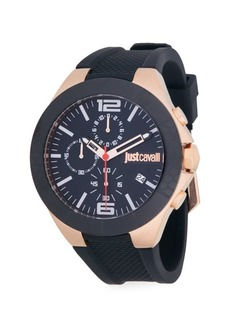 Just Cavalli Stainless Steel Rubber-Strap Chronograph Watch