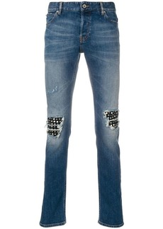 Just Cavalli stud embellished knee patch jeans