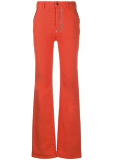 Just Cavalli studded high-rise straight leg jeans