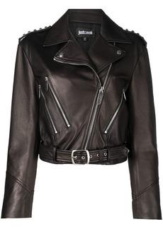 Just Cavalli studded shoulders biker jacket