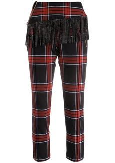 Just Cavalli tartan fringed trousers