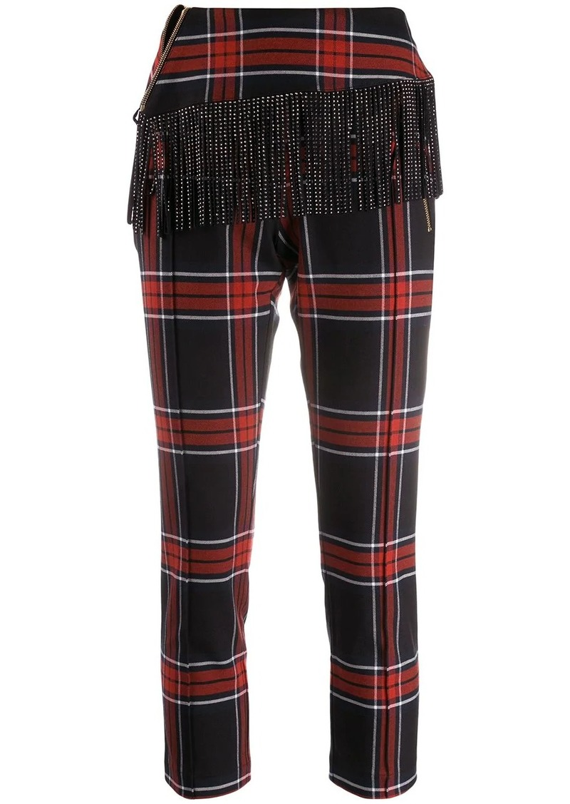 Just Cavalli tartan fringed trousers