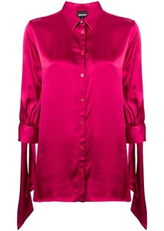 Just Cavalli tied-sleeve fitted blouse